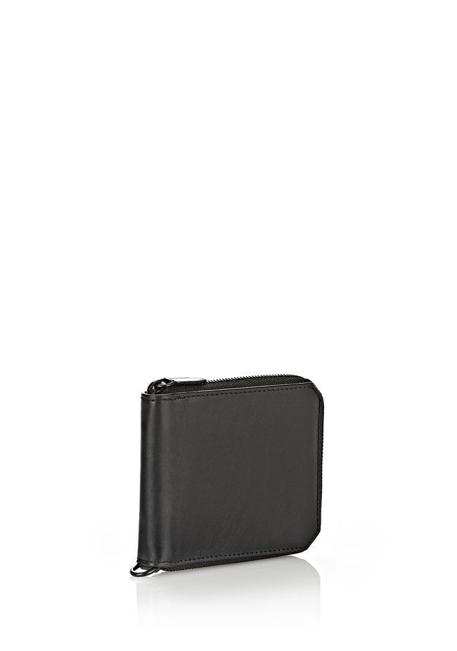 ALEXANDER WANG ZIPPED BI-FOLD WALLET IN SMOOTH BLACK SMALL LEATHER GOOD Adult 12_n_e