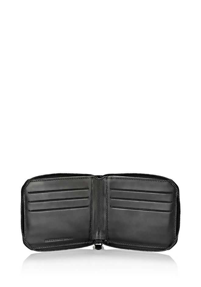ALEXANDER WANG ZIPPED BI-FOLD WALLET IN SMOOTH BLACK SMALL LEATHER GOOD Adult 12_n_r