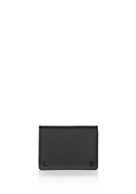 FOLDED CARD HOLDER IN SMOOTH BLACK