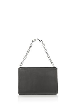 LARGE ATTICA CHAIN FLAT POUCH IN BLACK WITH RHODIUM