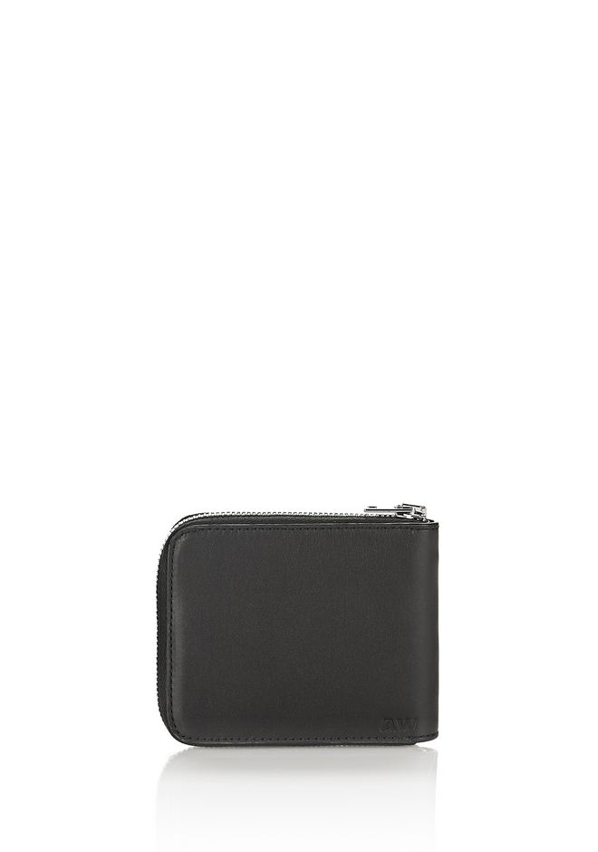 ALEXANDER WANG ZIPPED BI-FOLD WALLET IN BLACK WITH STRICT ARTIWORK SMALL LEATHER GOOD Adult 12_n_d