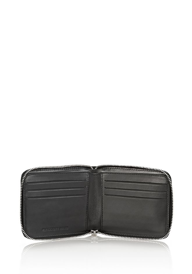 ALEXANDER WANG ZIPPED BI-FOLD WALLET IN BLACK WITH STRICT ARTIWORK SMALL LEATHER GOOD Adult 12_n_r