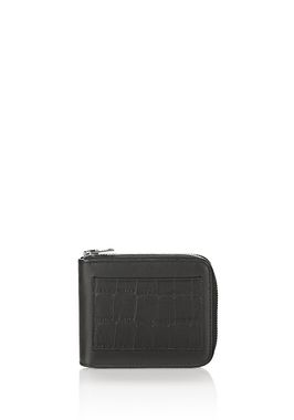 ZIPPED BI-FOLD WALLET IN BLACK WITH EMBOSSED CROC DETAIL