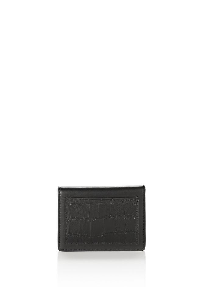 ALEXANDER WANG shoes-accessories-bags E-W CROC EMBOSSED CARDHOLDER IN BLACK