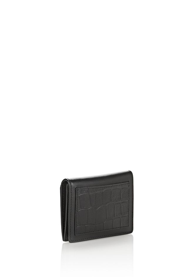 ALEXANDER WANG E-W CROC EMBOSSED CARDHOLDER IN BLACK  SMALL LEATHER GOOD Adult 12_n_e