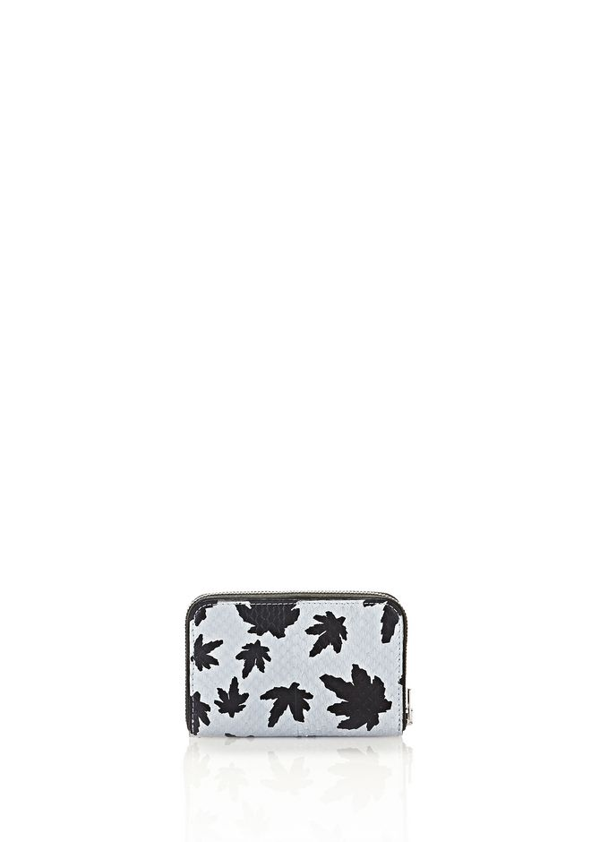 ALEXANDER WANG MINI COMPACT WALLET IN PALE BLUE LEAF PRINTED ELAPHE  SMALL LEATHER GOOD Adult 12_n_d