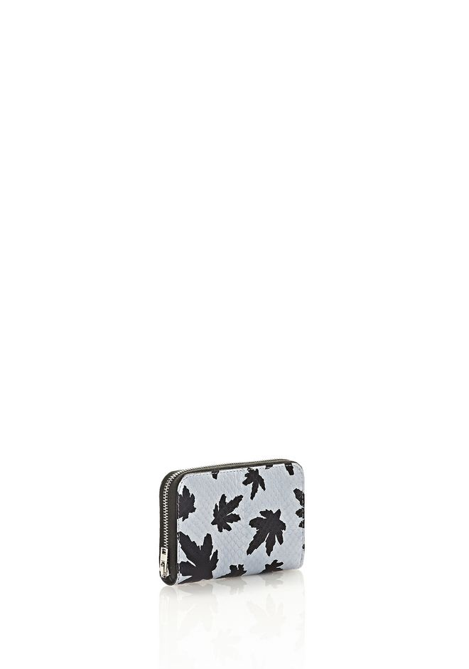 ALEXANDER WANG MINI COMPACT WALLET IN PALE BLUE LEAF PRINTED ELAPHE  SMALL LEATHER GOOD Adult 12_n_e
