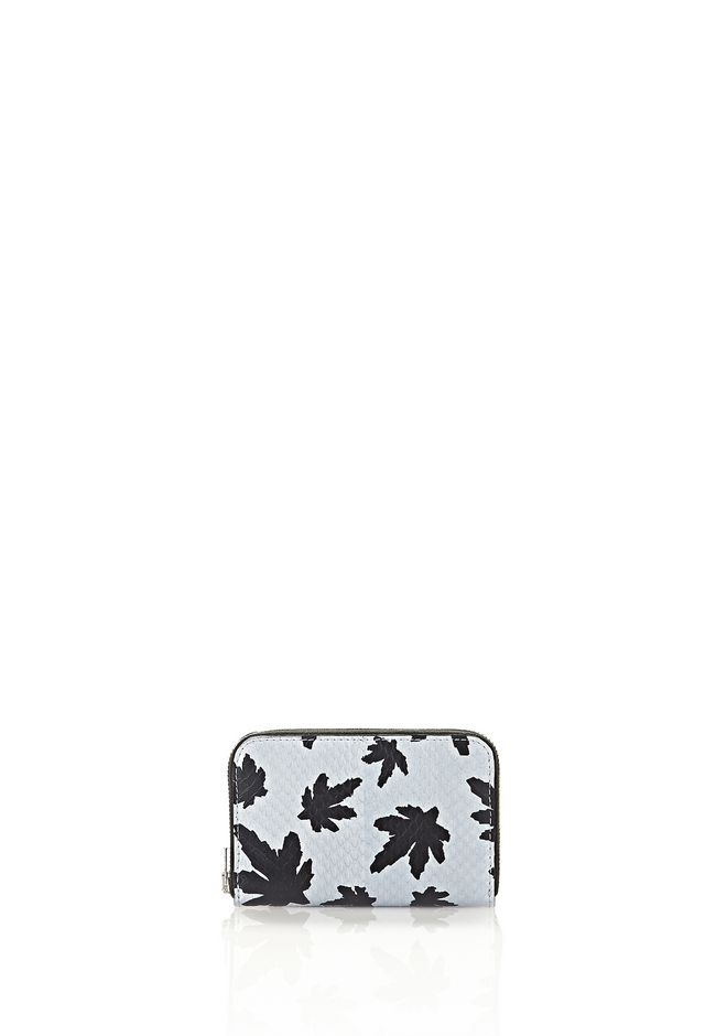 ALEXANDER WANG MINI COMPACT WALLET IN PALE BLUE LEAF PRINTED ELAPHE  SMALL LEATHER GOOD Adult 12_n_f
