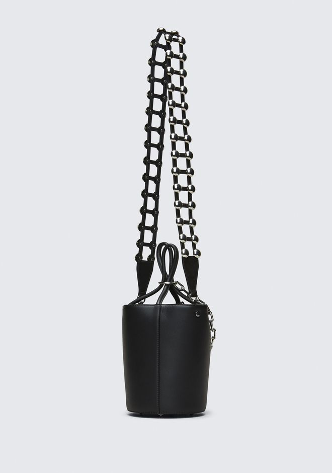 ALEXANDER WANG ATTICA STUDDED CAGE STRAP IN BLACK SUEDE WITH RHODIUM  BELTS & BAG STRAPS Adult 12_n_d