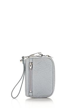 LARGE FUMO WALLET IN PEBBLED POWDER WITH RHODIUM