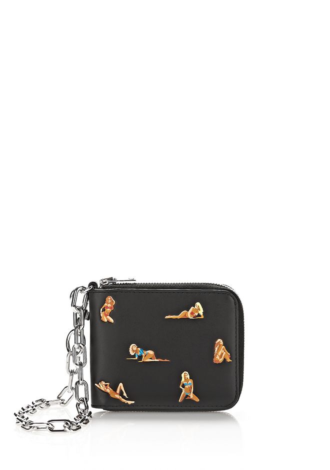 ALEXANDER WANG accessories ZIPPED BI-FOLD WALLET WITH EMBROIDERED BIKINI BABES