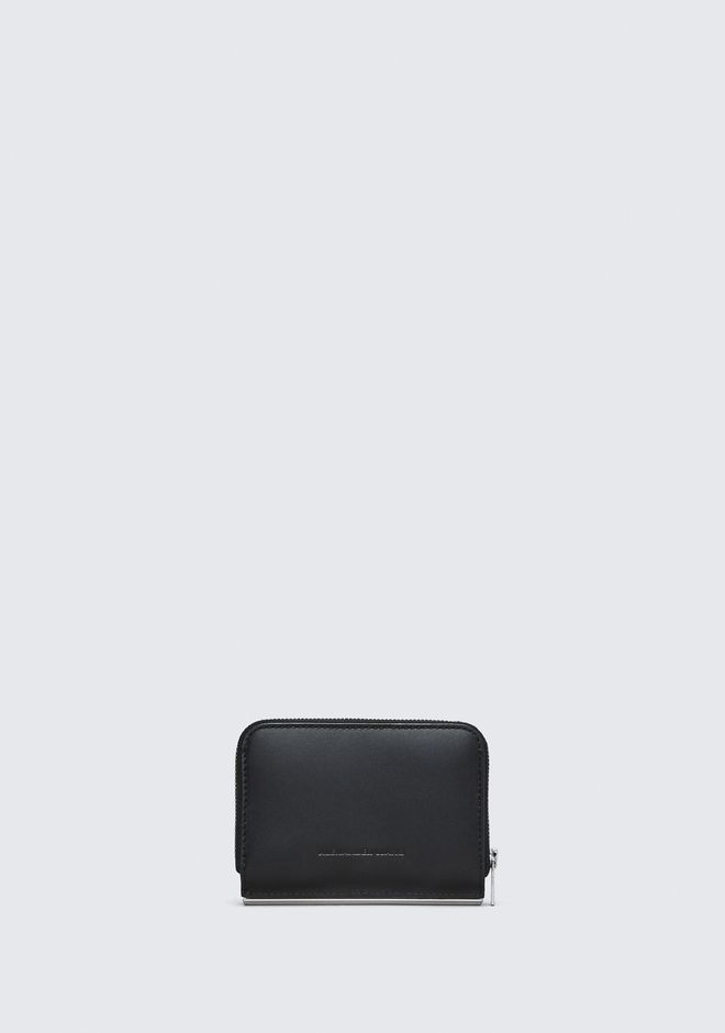ALEXANDER WANG DIME MINI COMPACT WALLET BAR IN BLACK SMALL LEATHER GOOD Adult 12_n_a