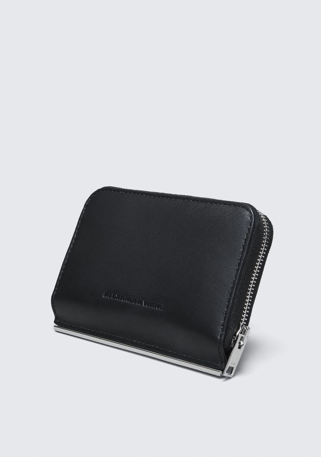 ALEXANDER WANG DIME MINI COMPACT WALLET BAR IN BLACK PICCOLA PELLETTERIA Adult 12_n_e