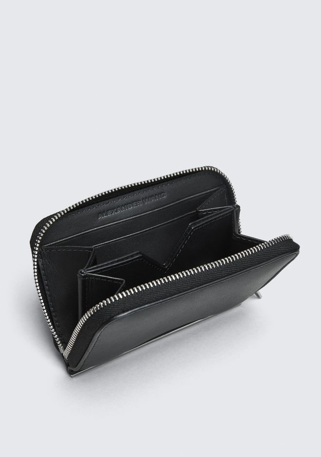 ALEXANDER WANG DIME MINI COMPACT WALLET BAR IN BLACK SMALL LEATHER GOOD Adult 12_n_r