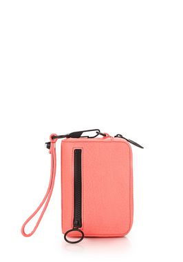 LARGE FUMO LARGE WALLET IN PEBBLED FLUO CORAL WITH MATTE BLACK