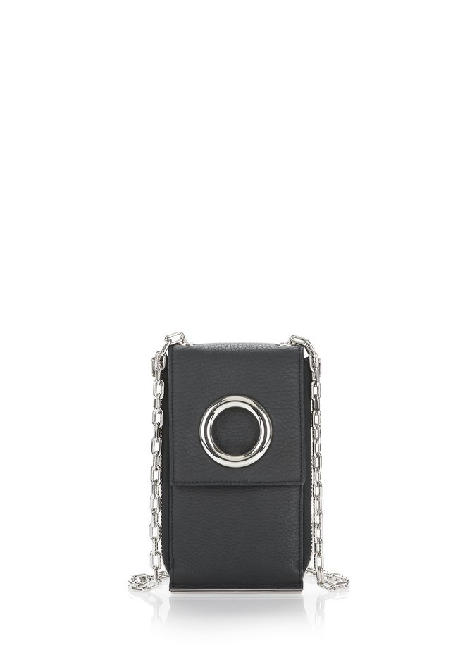 ALEXANDER WANG accessoires-classics RIOT SHOULDER WALLET IN MATTE BLACK WITH RHODIUM