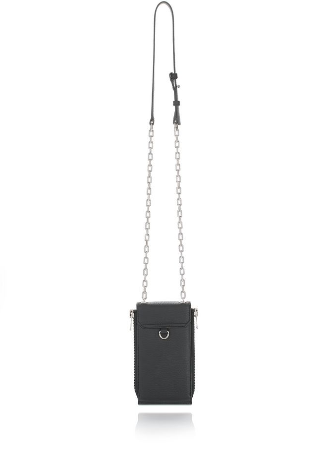ALEXANDER WANG RIOT SHOULDER WALLET IN MATTE BLACK WITH RHODIUM  SMALL LEATHER GOOD Adult 12_n_a