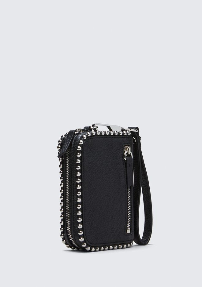 ALEXANDER WANG LARGE FUMO WALLET IN PEBBLED BLACK WITH BALL STUDS Wallet Adult 12_n_a
