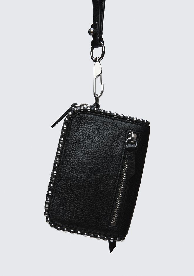 ALEXANDER WANG LARGE FUMO WALLET IN PEBBLED BLACK WITH BALL STUDS SMALL LEATHER GOOD Adult 12_n_d