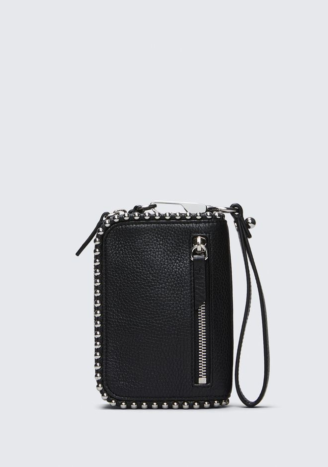 ALEXANDER WANG LARGE FUMO WALLET IN PEBBLED BLACK WITH BALL STUDS Wallet Adult 12_n_f