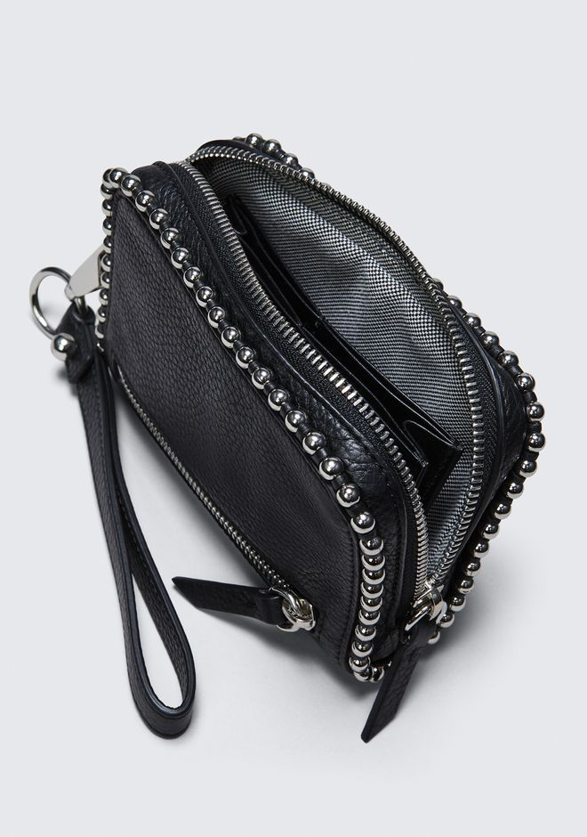 ALEXANDER WANG LARGE FUMO WALLET IN PEBBLED BLACK WITH BALL STUDS SMALL LEATHER GOOD Adult 12_n_r