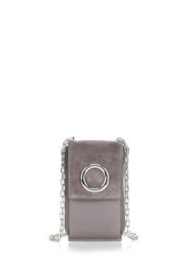RIOT SHOULDER WALLET IN GREY SUEDE WITH RHODIUM