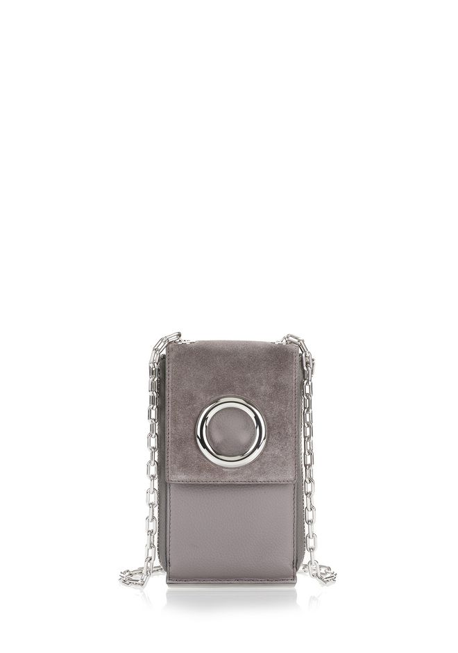 ALEXANDER WANG accessories RIOT SHOULDER WALLET IN GREY SUEDE WITH RHODIUM