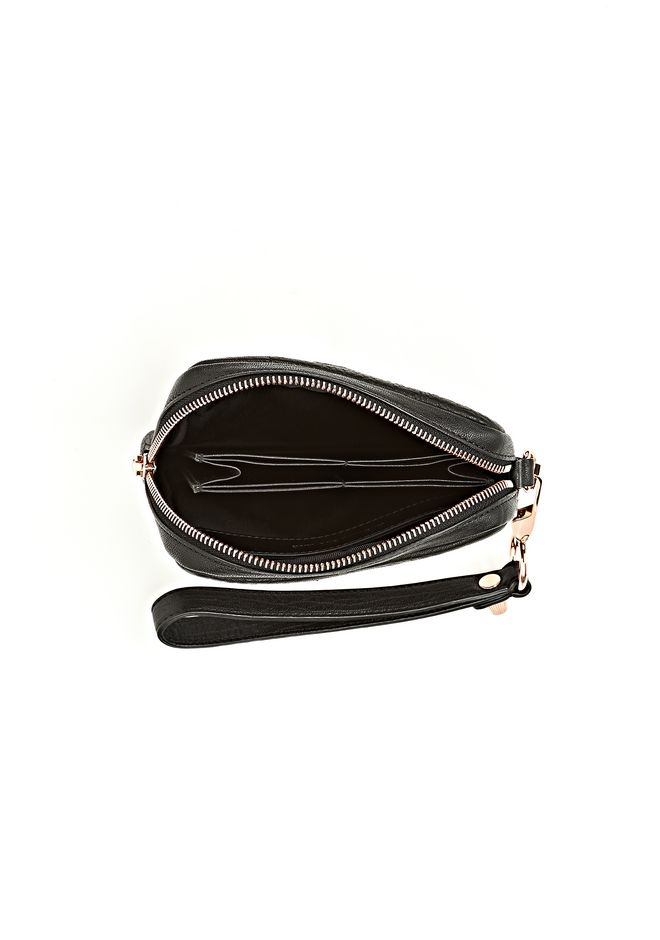 ALEXANDER WANG LARGE FUMO WALLET IN PEBBLED BLACK WITH ROSE GOLD SMALL LEATHER GOOD Adult 12_n_d