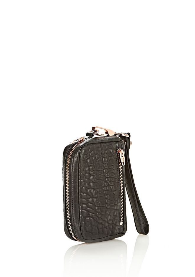 ALEXANDER WANG LARGE FUMO WALLET IN PEBBLED BLACK WITH ROSE GOLD SMALL LEATHER GOOD Adult 12_n_e
