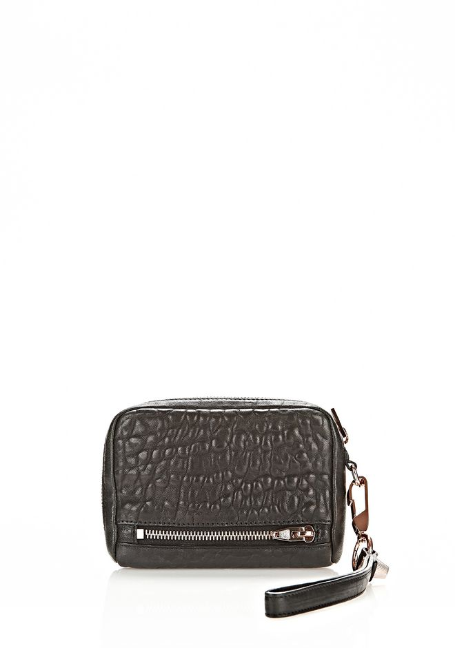 ALEXANDER WANG LARGE FUMO WALLET IN PEBBLED BLACK WITH ROSE GOLD SMALL LEATHER GOOD Adult 12_n_r