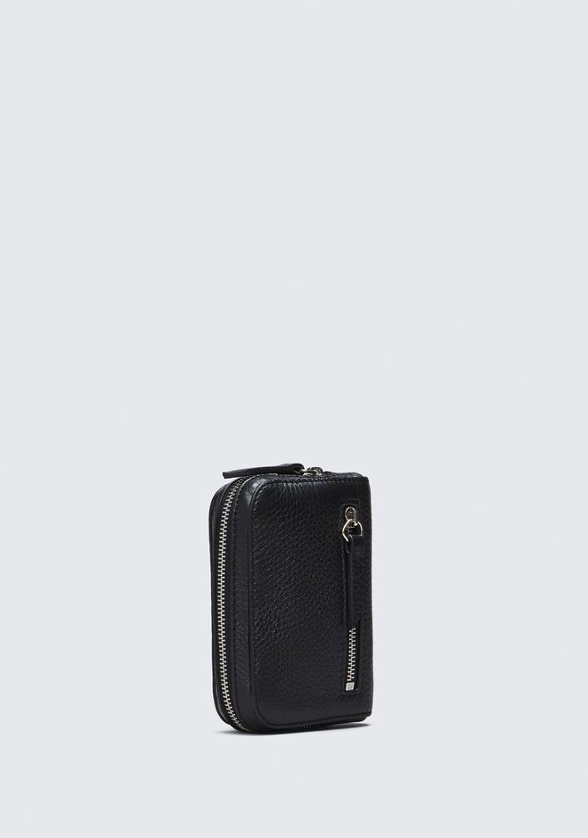 ALEXANDER WANG FUMO MINI ZIP AROUND WALLET IN PEBBLED BLACK  钱夹 Adult 12_n_e
