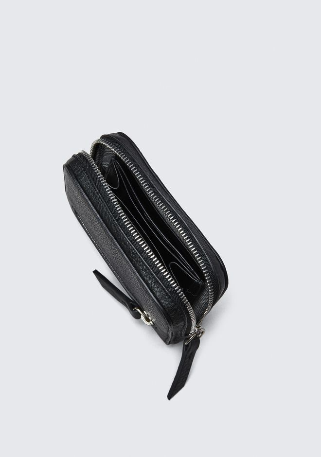 ALEXANDER WANG FUMO MINI ZIP AROUND WALLET IN PEBBLED BLACK  钱夹 Adult 12_n_r