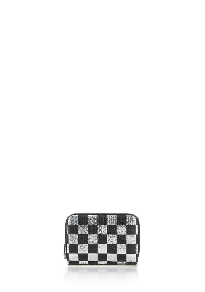 ALEXANDER WANG accessories DIME COMPACT WALLET WITH IN CHECKERBOARD ELAPHE