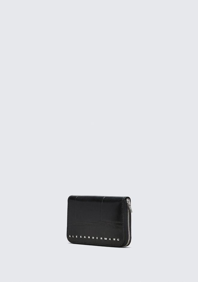 ALEXANDER WANG BLACK DIME COMPACT WALLET SMALL LEATHER GOOD Adult 12_n_a