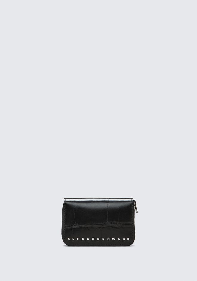 ALEXANDER WANG BLACK DIME COMPACT WALLET SMALL LEATHER GOOD Adult 12_n_f