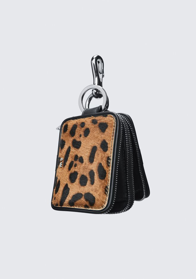 ALEXANDER WANG LEOPARD ZIP KEYCHAIN SMALL LEATHER GOOD Adult 12_n_e