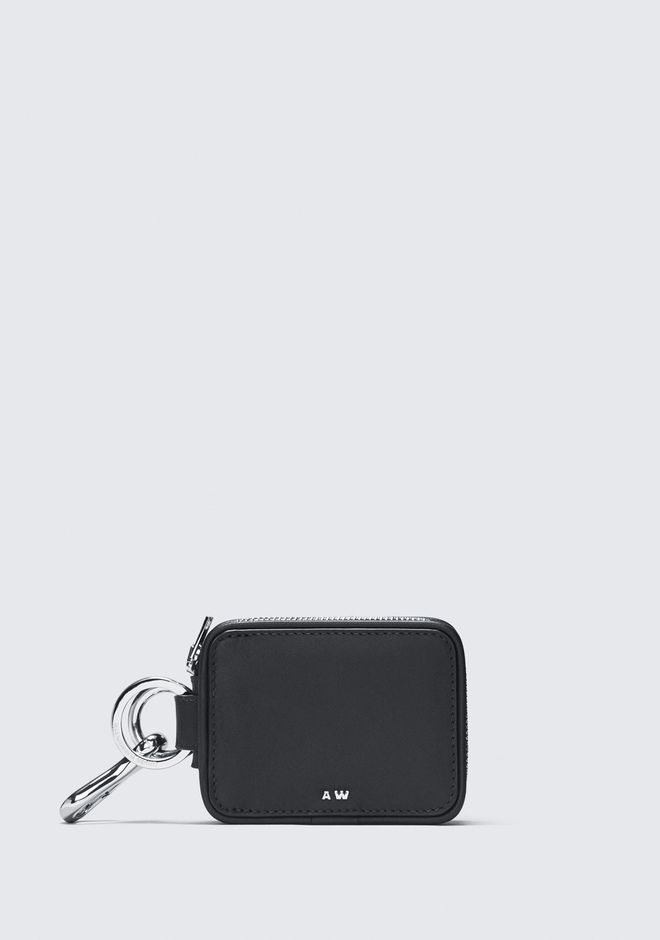 ALEXANDER WANG BLACK ZIP KEYCHAIN SMALL LEATHER GOOD Adult 12_n_f