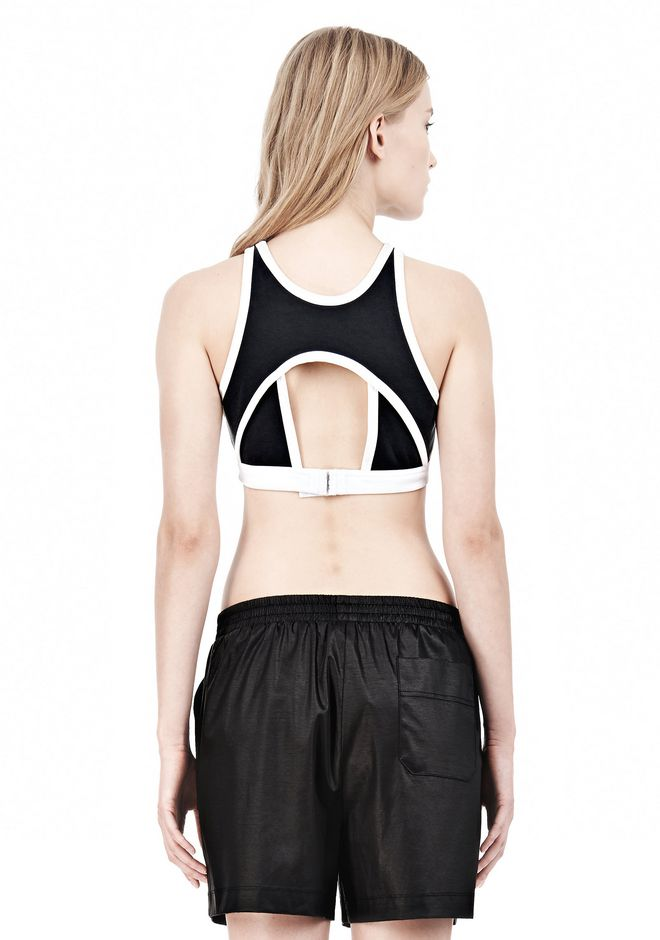 T by ALEXANDER WANG  PIQUE DOUBLE KNIT SPORTS BRA TOP Adult 12_n_d
