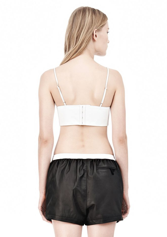 T by ALEXANDER WANG MATTE LAMB TRIANGLE BRALETTE TOP Adult 12_n_d