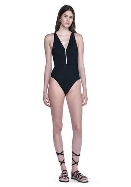 V-NECK ONE PIECE FISH LINE SWIMSUIT