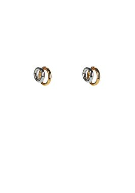 DOUBLE RING EARRINGS IN RHODIUM AND YELLOW GOLD