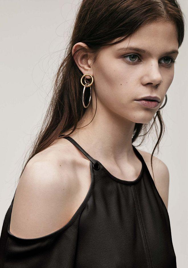 ALEXANDER WANG MIXED METAL TRIPLE HOOP EARRINGS Jewelry Adult 12_n_d
